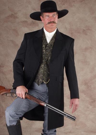Scully Frock Coat - Black - Men's Old West Vests And Jackets   Spur