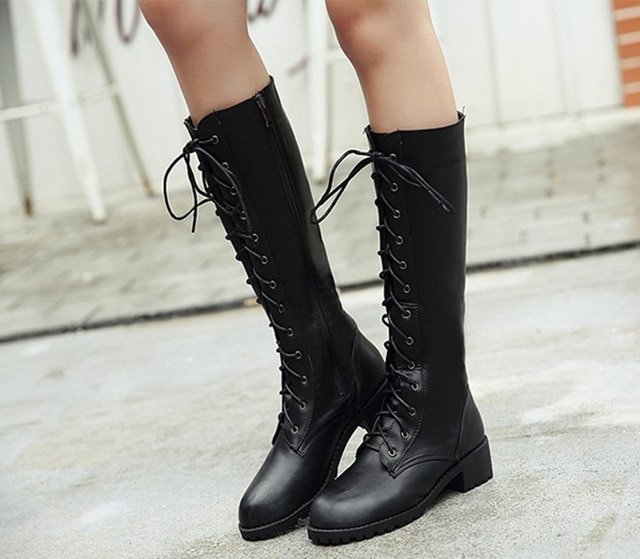 PU leather shoes girls knee high boots fur children girl boots baby