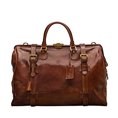 Amazon.com | Maxwell Scott Large Tan Leather Gladstone Bag (GassanoL