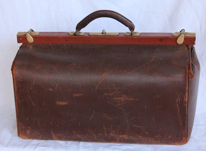 1910's Leather Doctors Bag - Antique Gladstone Bag : Vianova | Ruby Lane