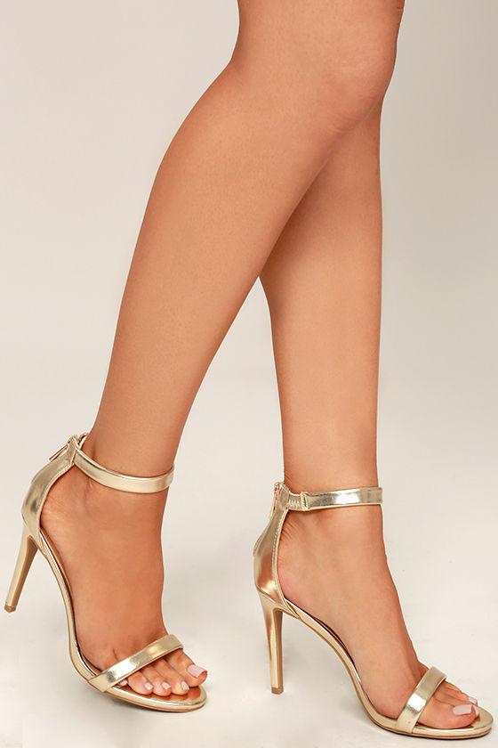 Pretty Gold Heels - Ankle Strap Heels - Metallic Heels