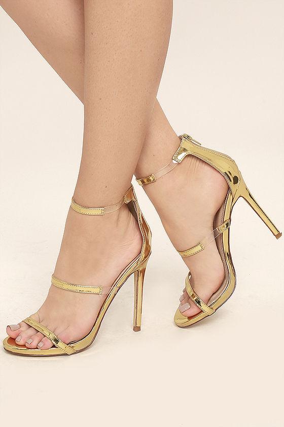 Chic Gold Heels - Nubuck Heels - High Heel Sandals - Lucite Heels