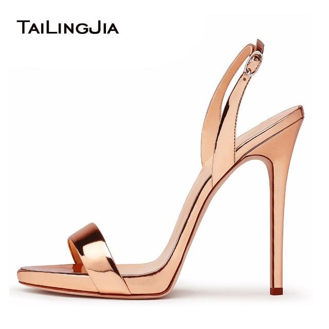 Rose Gold High Heel Basic Sandals Women Brands Style Ladies Classic