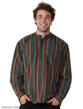 Hippy Shirt Mens Ethnic Stripey Cotton Long Sleeve Grandad Shirt By