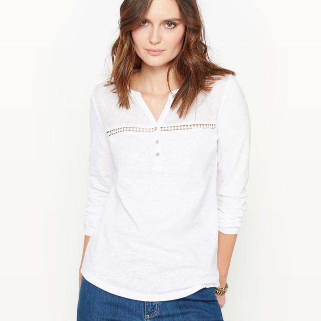 Cotton slub grandad collar t-shirt Anne Weyburn   La Redoute