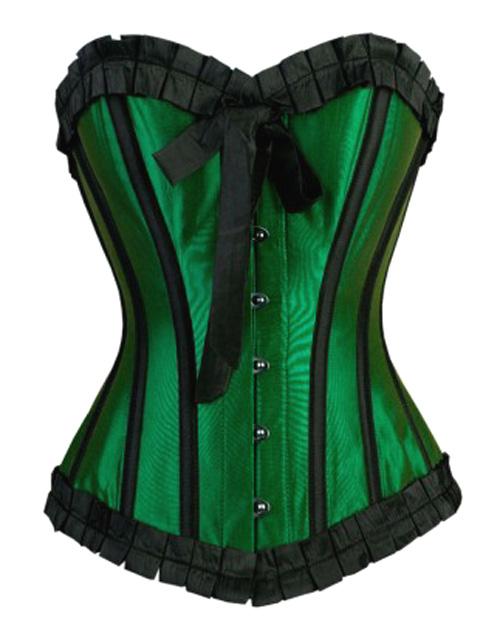 Burlesque Green Black Satin Steel Boned Corset 22