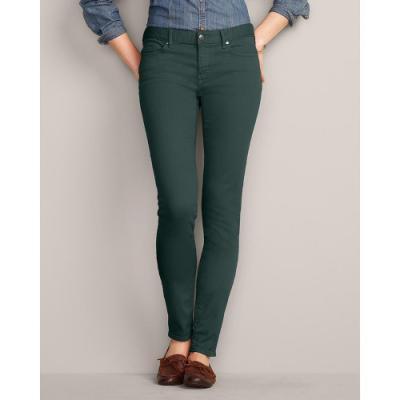 Eddie Bauer Slightly Curvy Stayshape Skinny Color Jeans Dark Green 4
