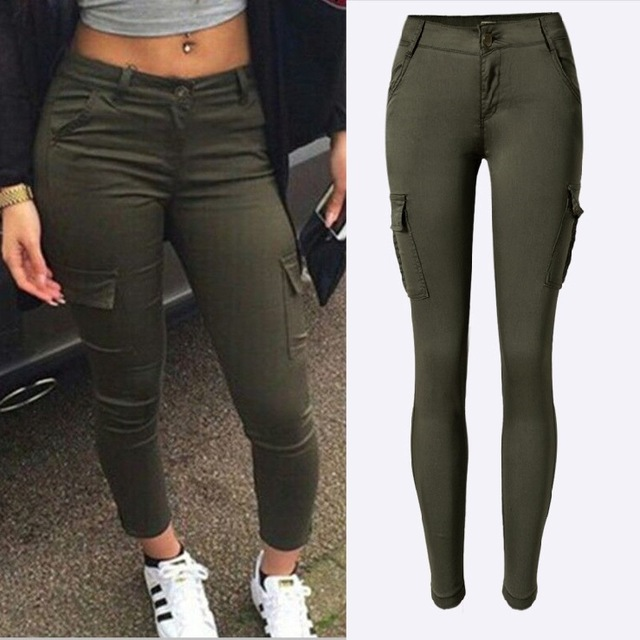 Fashion Army Green Jeans Women Sexy Low Rise Ladies Skinny Jeans