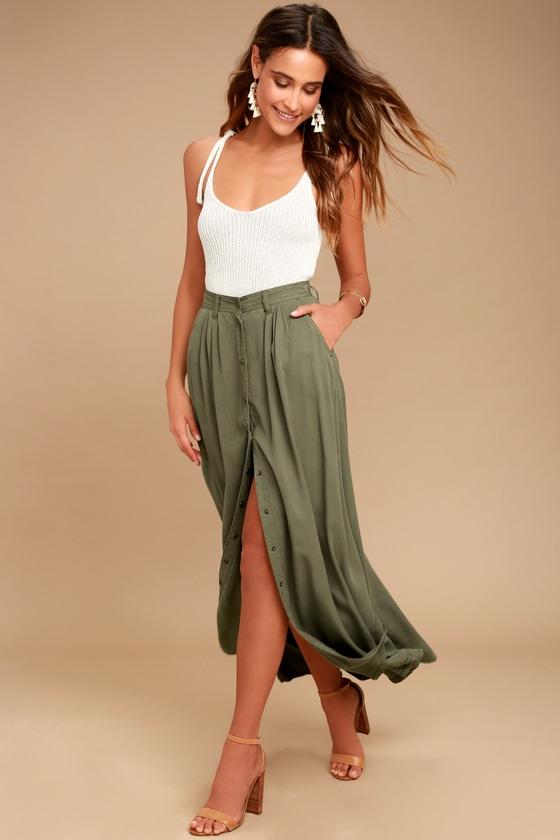 Cute Olive Green Skirt - Maxi Skirt - Button-Up Skirt