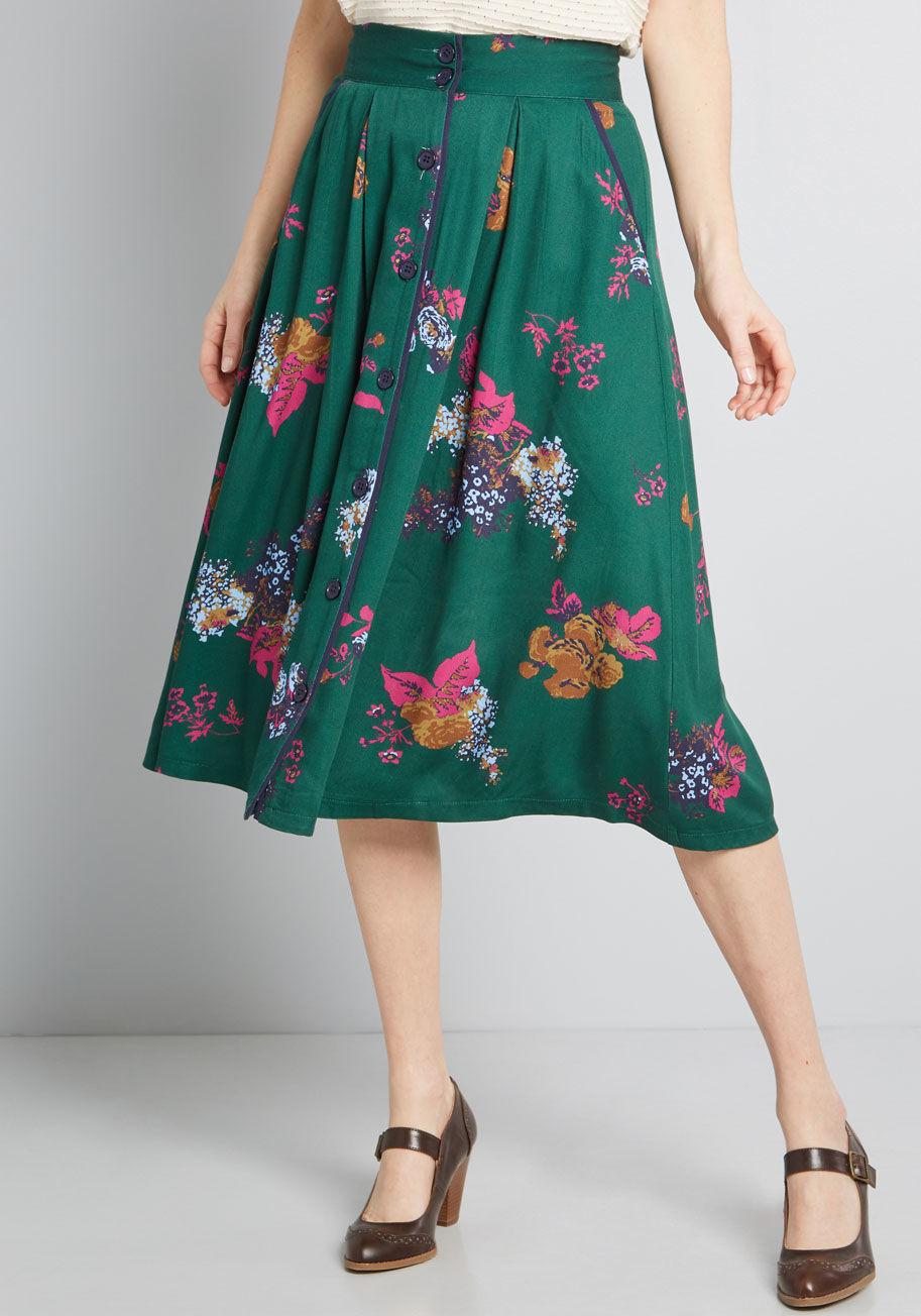 ModCloth Intelligent Involvement Midi Skirt Green Floral   ModCloth