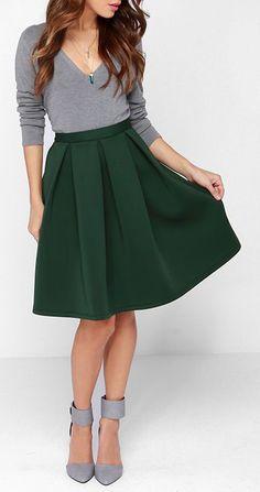 8 Best Dark Green Skirt images   Green skirts, Casual wear, Fashion