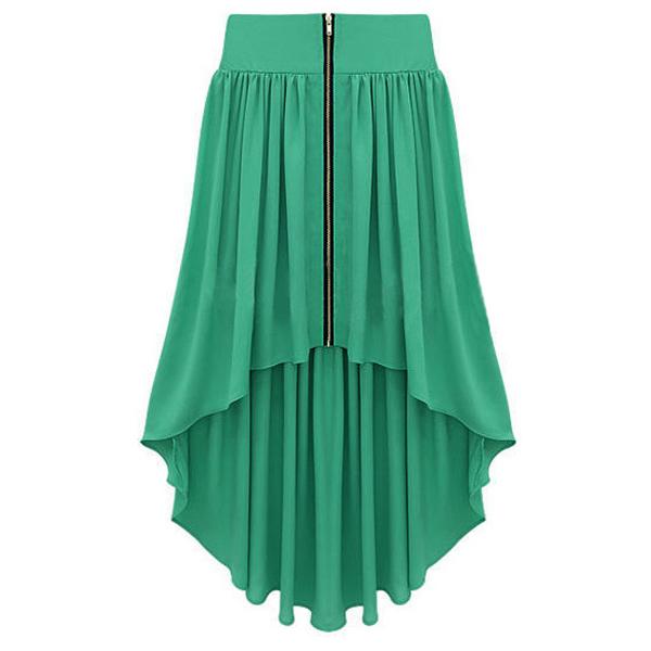 Green Skirt - Bqueen Asymmetrical Maxi Skirt Green   UsTrendy