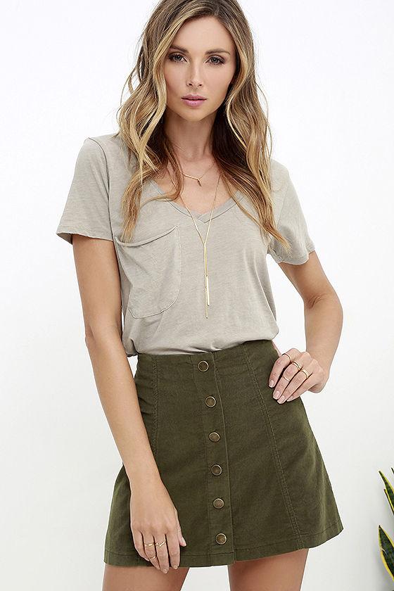 White Crow Austin Skirt - Olive Green Skirt - Corduroy Skirt - $55.00