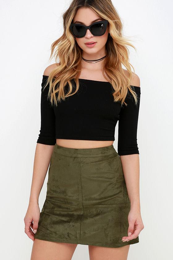 Suede Skirt - Olive Green Skirt - Mini Skirt - High-Waisted Skirt