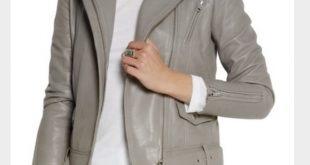 Maje Jackets & Coats   Grey Leather Biker Jacket   Poshmark