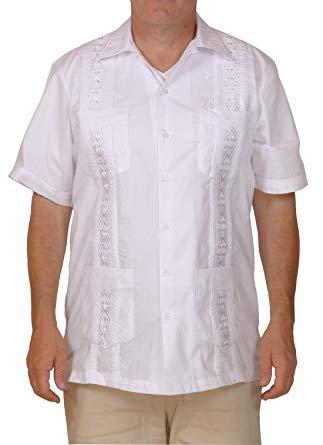 Squish Cuban Style Guayabera Shirt/White at Amazon Men's Clothing