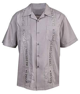 Urban Fox Mens Guayabera Shirts for Men | Short-Sleeve Shirt | Cuban