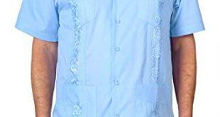 Squish Cuban Style Guayabera Shirt, Light Blue at Amazon Men's