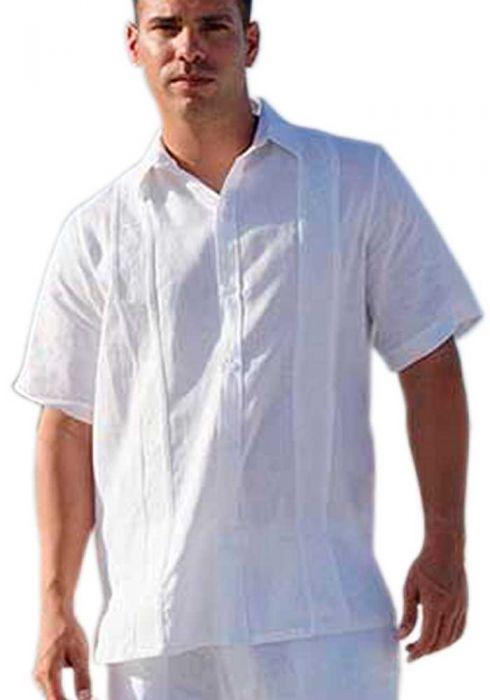 Short Sleeve. No pockets. Wedding Guayabera Shirt. Linen.