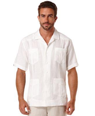 Cubavera Short-Sleeve 4-Pocket 100% Linen Guayabera Shirt - Casual