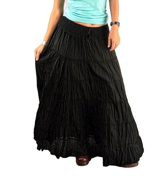 Black Gypsy Skirts for Women Cotton Tiered Skirts Boho | Etsy