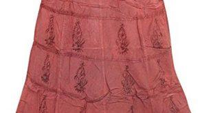 Mogul Interior Women's Maxi Skirt Pink Embroidered Stonewashed