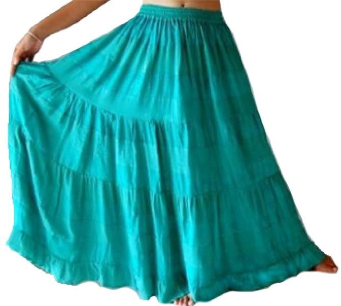 Tiered Boho Gypsy Skirt Plain Colors