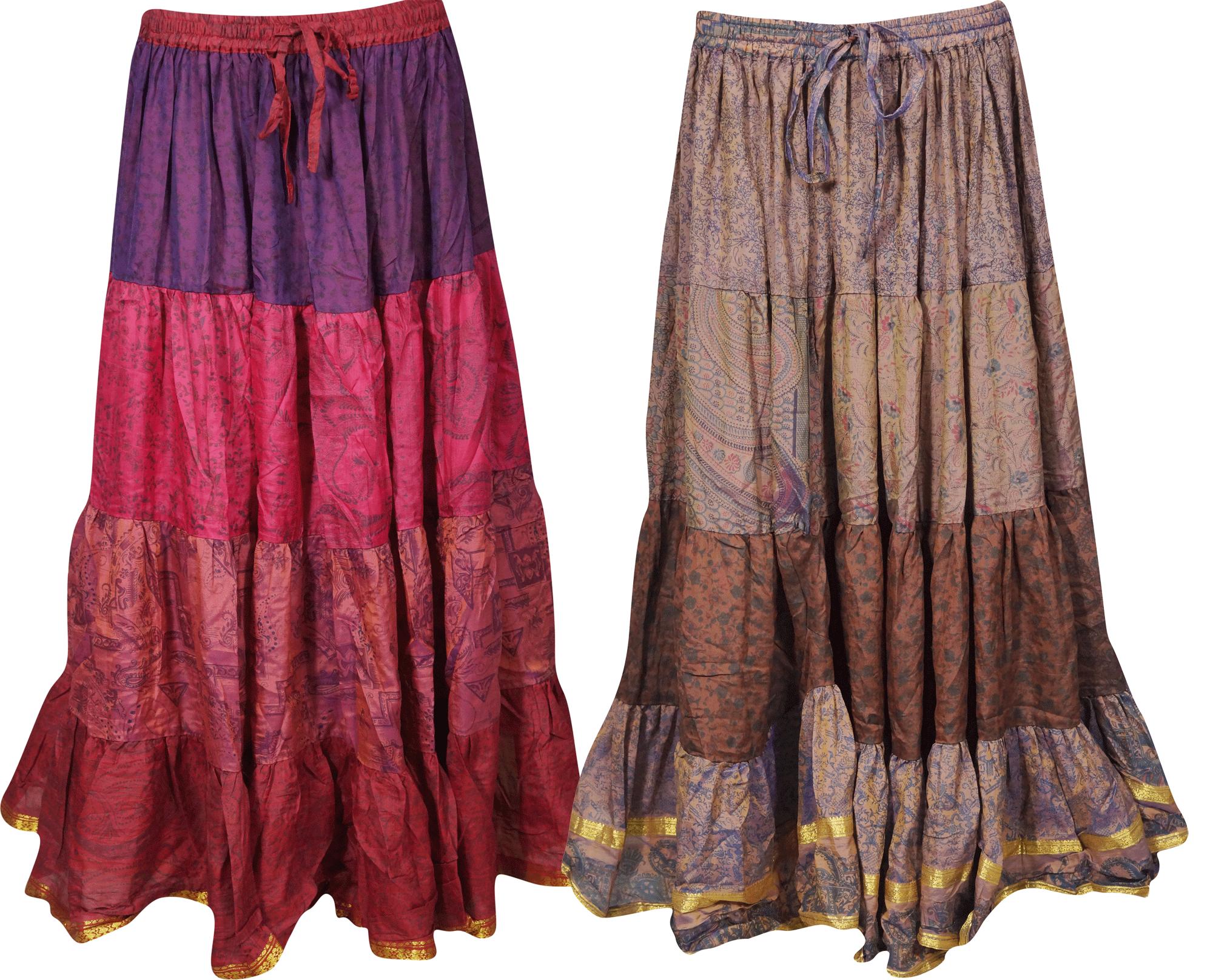 Mogul Interior - Mogul Lot Of 2 Pcs Womens Gypsy Skirts Vintage Silk