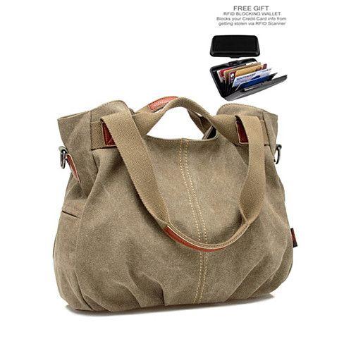 ARM CANDY Handy Natural Canvas Handbag w/ FREE RFID Credit Card