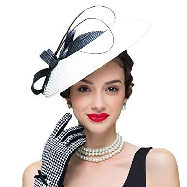 FADVES Fascinators Pillbox Hat Weddings Women Straw Fedora Vintage