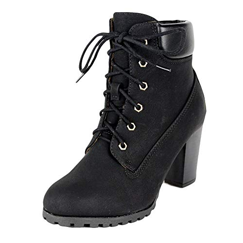 Amazon.com | KSC Womens Rugged Lace Up Stacked High Heel Ankle Boots
