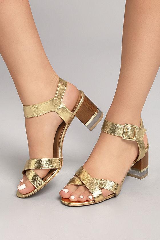 Trendy Lucite Heel Sandals - Gold High Heel Sandals - Vegan Leather