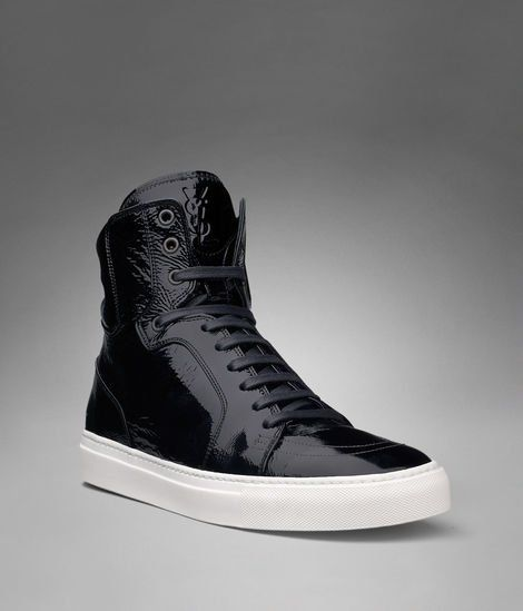 YSL Malibu High-top Sneaker in Black Patent Leather - Sneakers