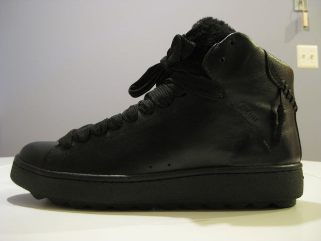 Coach Mens Shearling C201 Black High Top SNEAKERS Leather US Shoe