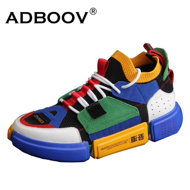 ADBOOV Brand Retro High Top Sneakers Men Mixed Colors Designer Shoes