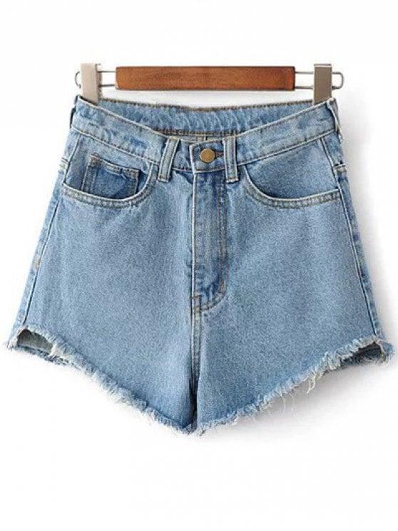32% OFF] 2019 Fringe High Waist Denim Shorts In LIGHT BLUE 26 | ZAFUL