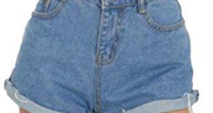 Haola Women's Juniors Vintage Denim High Waisted Folded Hem Jeans