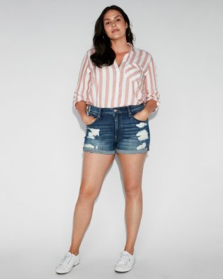 High Waisted Relaxed Distressed Stretch+ Denim Shorts   Express