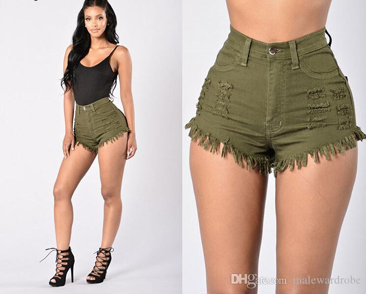 Women Summer Hot Shorts High Waist Jean Shorts Elastic Button Skinny