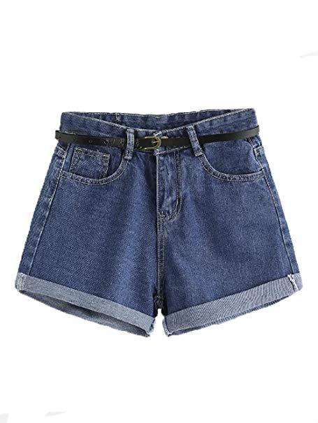 SweatyRocks Women's Retro High Waisted Rolled Denim Jean Shorts with