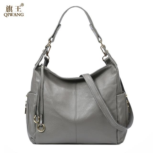 QIWANG 100% Grey Genuine Leather Bag Women's Handbag Ladies Shoulder