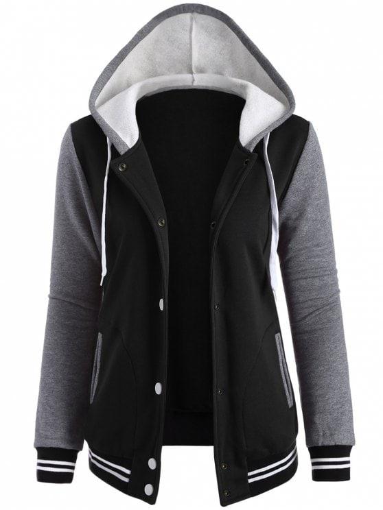 38% OFF] 2019 Varsity Baseball Fleece Hoodie Jacket In BLACK S | ZAFUL
