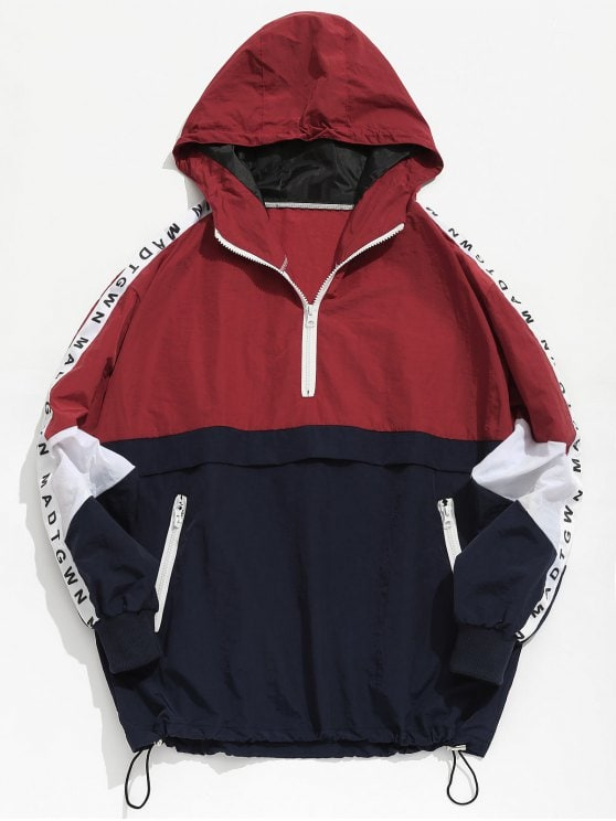34% OFF] 2019 Color Block Zipper Striped Hoodie Jacket In RED L | ZAFUL
