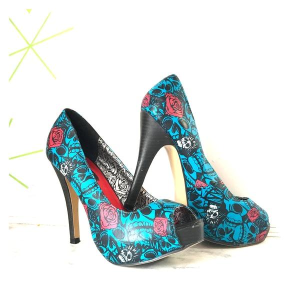 Iron Fist Shoes | Electric Blue Muerte Skull Heels | Poshmark