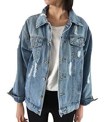 JudyBridal Oversize Denim Jacket Women Ripped Jean Jacket Boyfriend