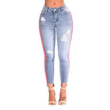 SKINNY JESNS Women Denim Pants Side Striped Full Length Jeans Ladies