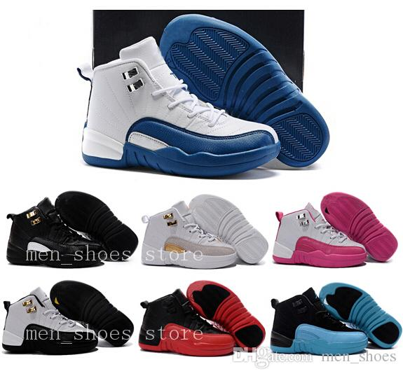 Kids 12 Shoes Children Basketball Shoes Boy Girl 12s OVO French Blue