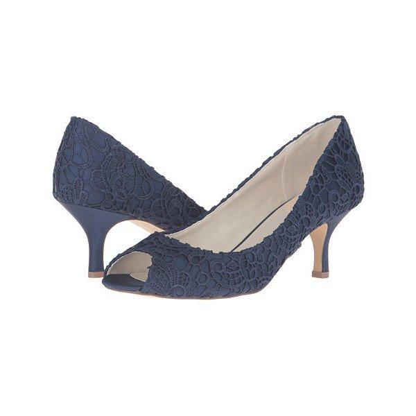 Navy Lace Heels Peep Toe Kitten Heel Pumps for Bridesmaid for