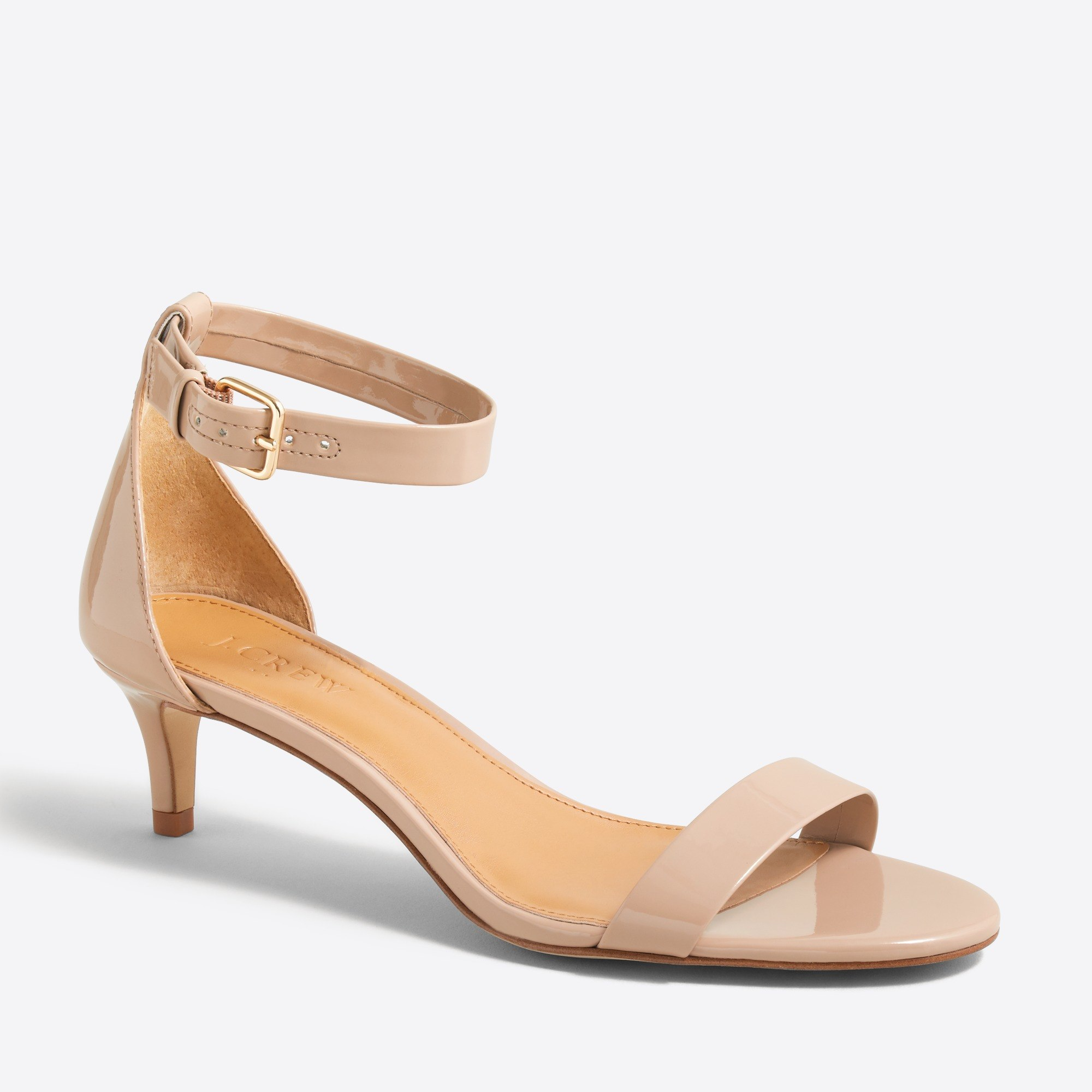 Patent kitten-heel sandals : FactoryWomen Heels | Factory