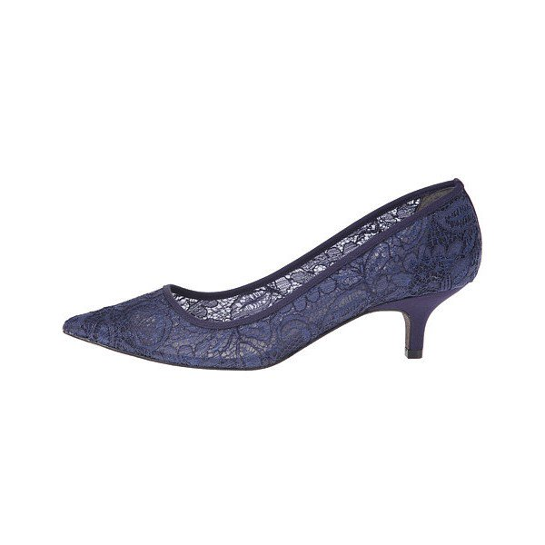 Navy Wedding Shoes Lace Heels Pointy Toe Kitten Heel Pumps for Ball